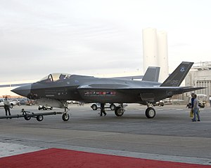 Lockheed Martin F-35 Lightning II - F-35A prototype being towed to its inauguration ceremony on 7 July 2006.