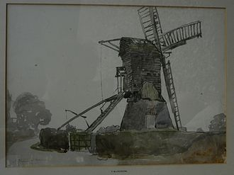 Manchester School of Painters - Windmill at Thorne, 1911, a late watercolour by F. W. Jackson. Thorne is 12 miles north-north-east of Doncaster.
