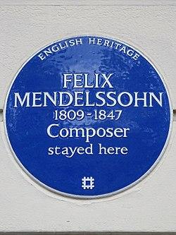 Felix mendelssohn 1809   1847 composer stayed here