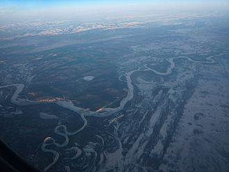 Kantishna River - Confluence of the Kantishna River (bottom left) with the Tanana River