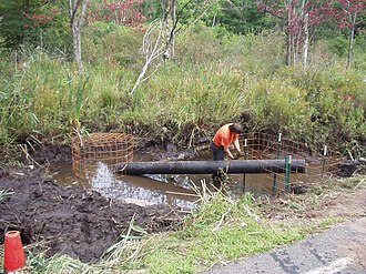 Flow device - Before: Culvert fence and pond leveler pipe system installed with beaver pond drained