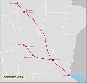 Ferrocentral - Map with services operated.