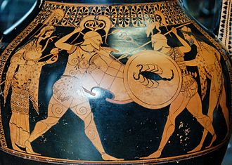 Andokides painter - Hoplites with Athena and Hermes. Side A from an Attic red-figure amphora, c. 530 B.C., from Vulci. Louvre Museum, Paris.