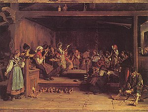 Luis Álvarez Catalá - The Filandón, a traditional evening community gathering in León and Asturias. (1872)