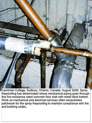 Legal code (municipal) - Fire Code Violation: Delaminated Spray Fireproofing at Cambrian College in Sudbury, Ontario.