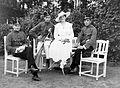 First World War, tableau, men, woman, soldier, uniform, sword, garden, hat, garden furniture Fortepan 2419.jpg