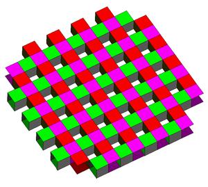 Order-5 square tiling - Image: Five square skew polyhedron