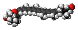Space-filling model of the flavoxanthin molecule