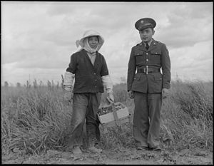 Japanese American service in World War II - Image: Florin, Sacramento County, California. A soldier and his mother in a strawberry field. The soldier . . . NARA 536474