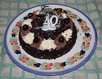 Birthday - Chocolate birthday cake with 40th Anniversary sign