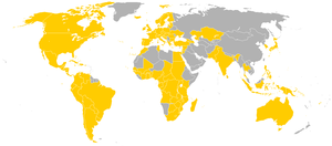 Map indicating countries which were visited by John Paul II.