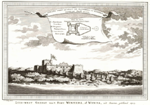 Fort Winneba - Engraving by Jacobus van der Schley of view from the South West, 1727, from sketch by William Smith