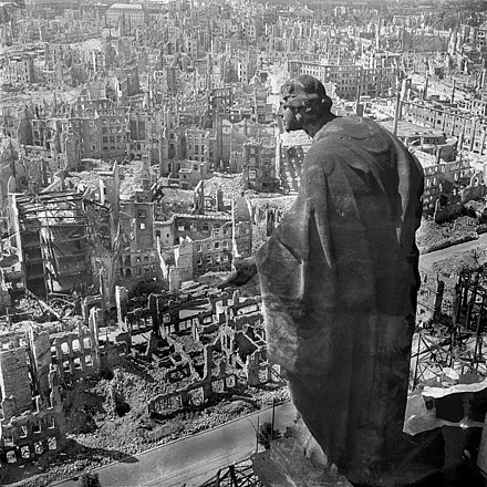 Dresden, 1945, view from the town hall (Rathaus) over the destroyed city (the allegory of goodness in the foreground) Fotothek df ps 0000010 Blick vom Rathausturm.jpg