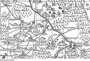 Hohendubrau - Hohendubrau-Dauban. Oberlausitz map, Schenk, 1759.