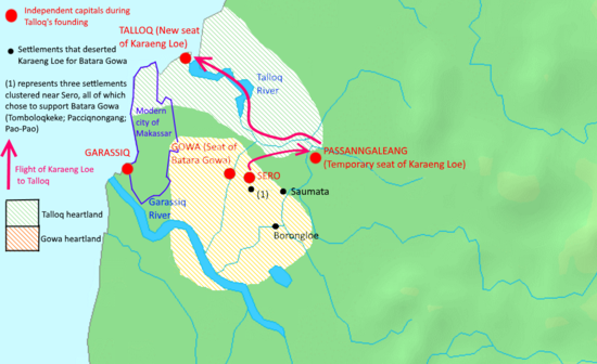 A close-up map of Gowa and Talloq, showing the heartlands of the two kingdoms and an exile route of the founder of Talloq