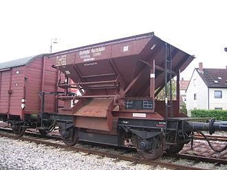 Austauschbauart - Talbot ballast hopper at Ebermannstadt in 2005 (Dampfbahn Fränkische Schweiz museum railway)