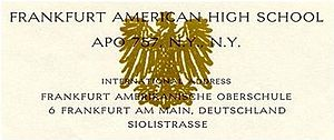 Frankfurt American High School - Scan of Frankfurt American High School letterhead circa 1960