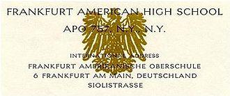 Frankfurt American High School - Scan of Frankfurt American High School letterhead circa 1960