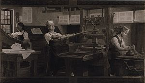 The Way to Wealth - Benjamin Franklin at a printing press