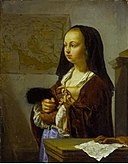 Frans van Mieris (I) - Young Woman with Feather Fan Prepared to Go Out.jpg