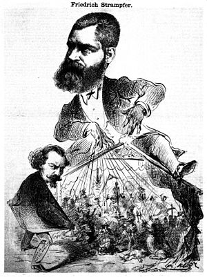 Maximilian Steiner - Cartoon of Maximilian Steiner (bottom left) with his boss Friedrich Strampfer (top). By Karel Klíč, 1869.