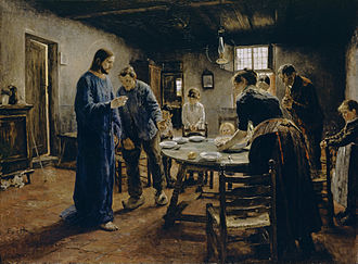 Grace (prayer) - Grace before the Meal, by Fritz von Uhde, 1885