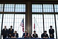 From left, seated, U.S. Secretary of Defense Chuck Hagel and U.S. Secretary of State John Kerry sign an amendment with Japanese Minister of Foreign Affairs Fumio Kishida and Japanese Minister of Defense Itsunori 131003-D-BW835-1668.jpg