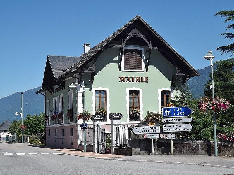 Sight of the French commune of Frontenex city hall, between Chambéry and Albertville in Savoie.