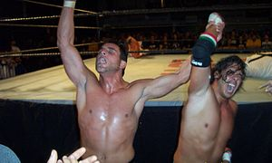 The Full Blooded Italians - Little Guido and Tony Mamaluke celebrate a victory in Philadelphia's ECW Arena.