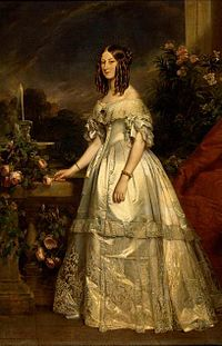 Full portrait of HRH The Duchess of Nemours by Winterhalter (Princess Victoria of Saxe-Coburg and Gotha).jpg