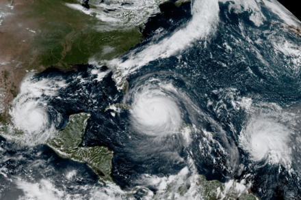 Photograph of Katia, Irma, and Jose - the first occurrence of three simultaneously active Atlantic hurricanes since 2010 and the first occurrence of two Atlantic hurricanes with wind speeds greater than or equal to 150 since the 1800s. 2018 would later become the second consecutive season to feature three concurrent hurricanes, and even four simultaneous named storms.