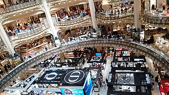 Galeries Lafayette - View from the 4th level at Galeries Lafayette in Paris