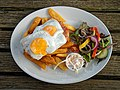 Gammon, egg and chips, with salad at Black Horse Inn, Nuthurst, West Sussex England.jpg