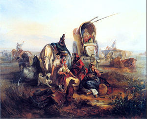 Juan Manuel de Rosas - Gauchos resting in the pampas. Oil painting by Johann Moritz Rugendas