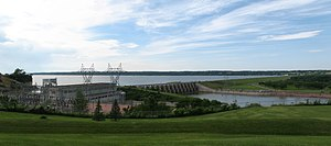 Yankton, South Dakota - Gavins Point Dam (foreground) with Lewis and Clark Lake in the background