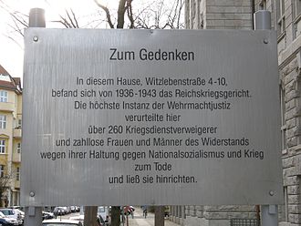 Reichskriegsgericht - Commemorative plaque to the conscientious objectors and members of the Resistance sentenced at the Reichskriegsgericht