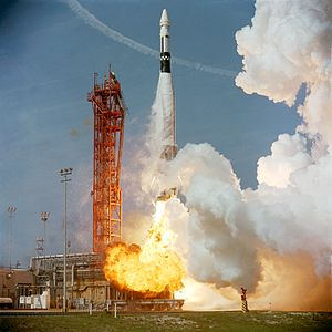 Gemini 8 - The Agena Target Vehicle is launched into space on an Atlas rocket in preparation for Gemini 8