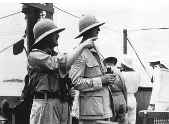 Battle of Dakar - De Gaulle with Maj-Gen Sir Edward Spears, Churchill's personal representative to the Free French, en route for Dakar in September 1940 aboard the Dutch liner, Westernland