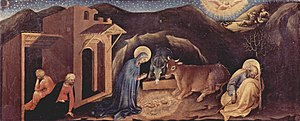Adoration of the Magi (Gentile da Fabriano) - Scene of the Nativity in the predella.