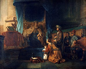 Hannah presenting her son Samuel to the priest Eli