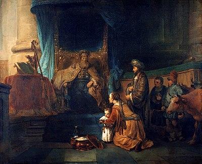 Gerbrand van den Eeckhout - Anna toont haar zoon Samuël aan de priester Eli
