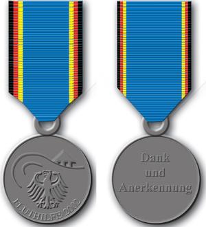 German Flood Service Medal (2002) - Image: German Flood Service Medal 2002 obverse and reverse