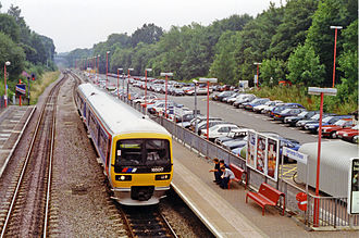 Gerrards Cross - Gerrards Cross station, in 1994. The view NW from the footbridge, towards Princes Risborough