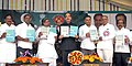 Ghulam Nabi Azad releasing the guidelines of NUHM, at the launch of the National Urban Health Mission, at Freedom Park, Bangalore. The Chief Minister of Karnataka, Shri K. Siddaramaiah and other dignitaries are also seen.jpg
