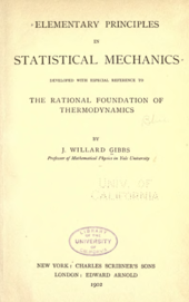 Title page of Gibbs's Statistical Mechanics