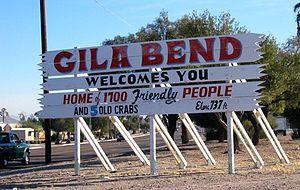 Gila Bend, Arizona - A humorous, numerically outdated sign welcomes people to Gila Bend, Arizona.