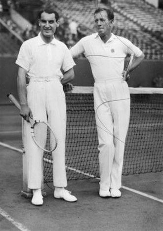 Giorgio de Stefani - Giorgio de Stefani (left) and Wilmer Allison (right) during the 1930 International Lawn Tennis Challenge Inter-Zonal Zone final. They hold the record for the most match points saved in a match.