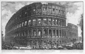 1st century in architecture - Collosseum as seen by Piranesi in the 18th century