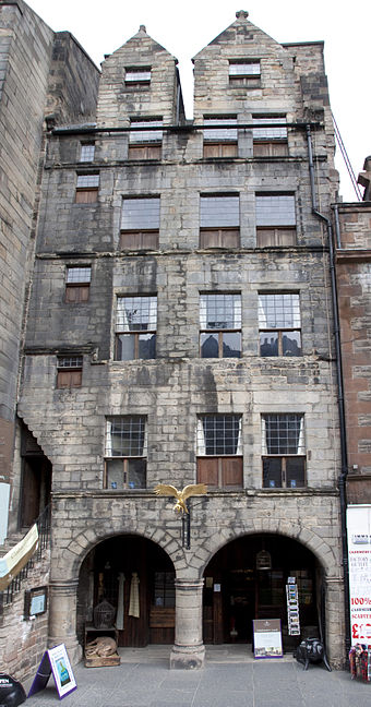 Gladstone's Land is a tenement from 1617 in the Old Town, Edinburgh. Gladstones Land (4530213293).jpg