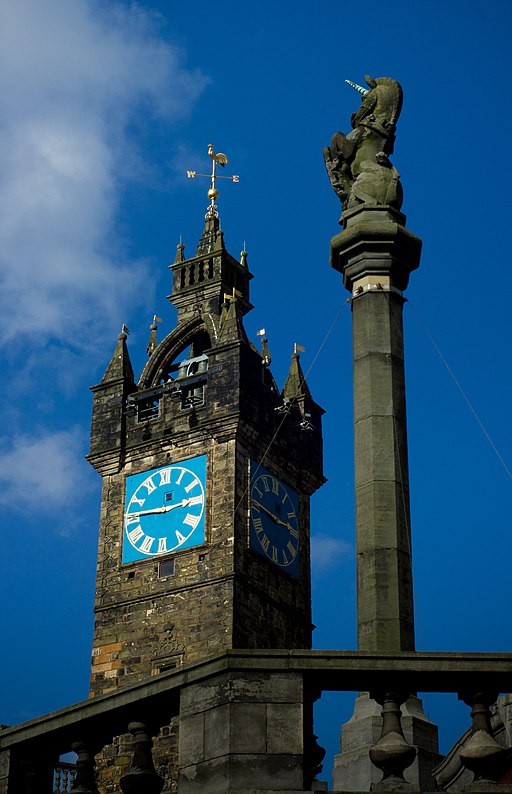 Glasgow Mercat Cross Unicorn with the Tolbooth Steeple